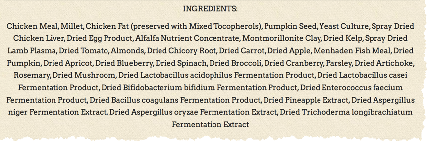 dog food ingredients label